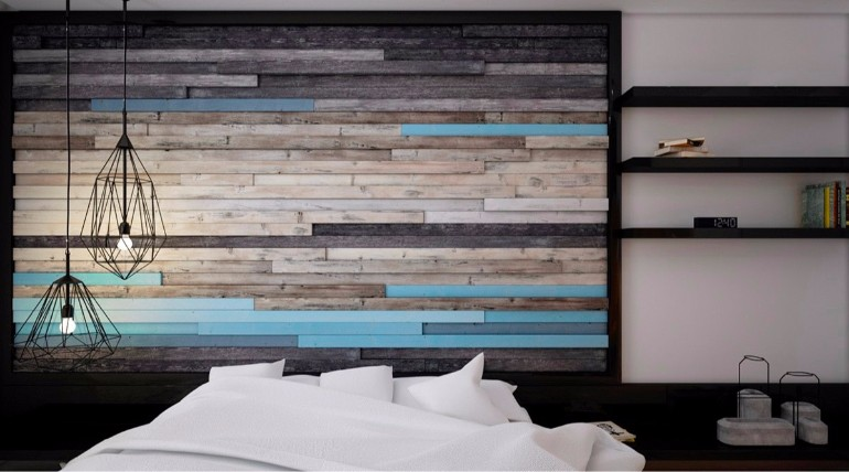 master bedroom Master Bedrooms with Striking Wood Panel Designs gorgeous reappropriated wood master bedroom walls master bedroom design inspiration ideas modern bedroom inspiration interior design home decor
