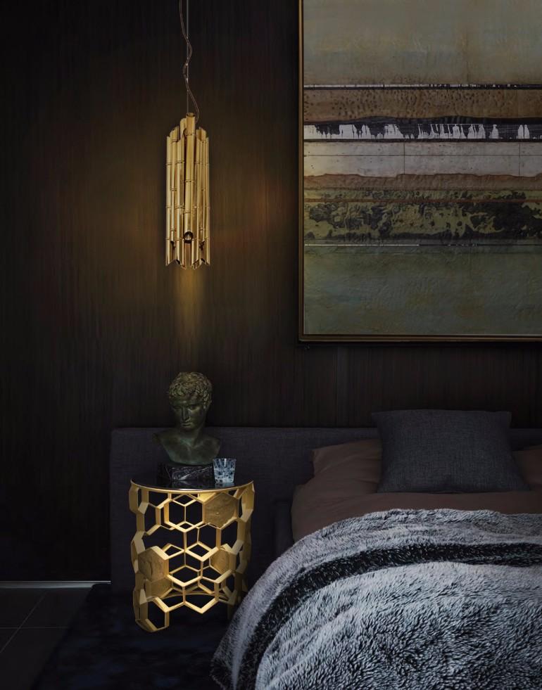 golden nightstand Master Bedroom Bling with Golden Nightstands luxury gold nightstand design for opulent master bedrooms bedroom inspiration nightstand design
