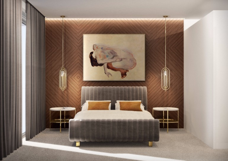 golden nightstand Master Bedroom Bling with Golden Nightstands modern master bedroom design inspiration ideas room decor ideas luxury furniture exclusive design