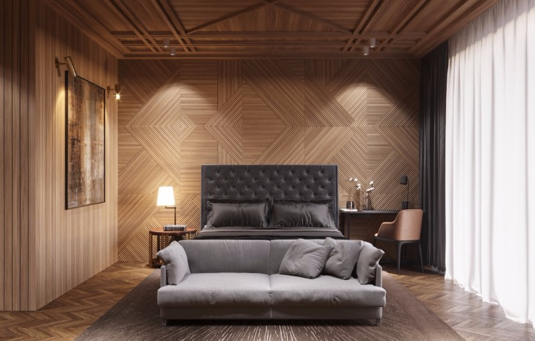 master bedroom Master Bedrooms with Striking Wood Panel Designs patterned bedroom design wall ideas modern master bedroom decor master bedroom design