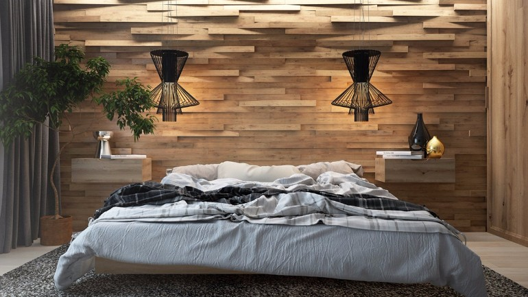 Master bedrooms with striking wood panel designs master for Master bedroom wall ideas