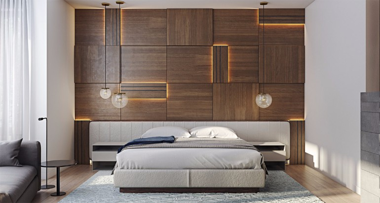 master bedroom Master Bedrooms with Striking Wood Panel Designs striking wood panels in modern master bedroom design concept bedroom design ideas modern master bedroom design