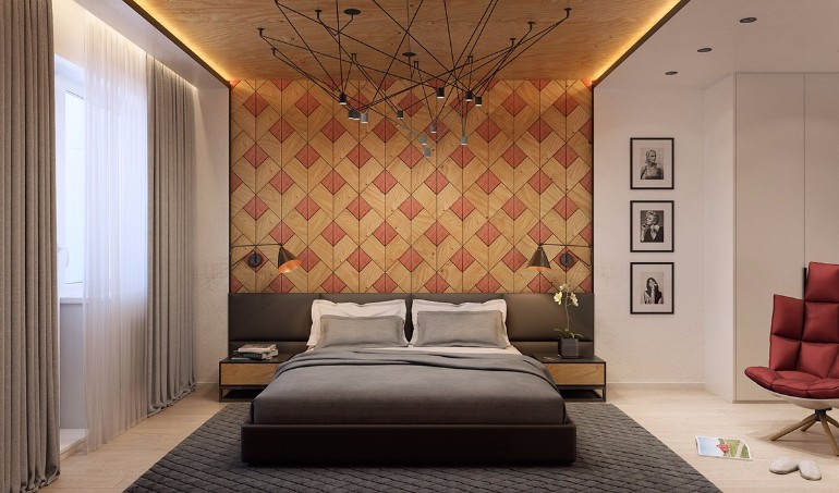 Master bedrooms with striking wood panel designs master bedroom ideas Master bedroom wall art ideas