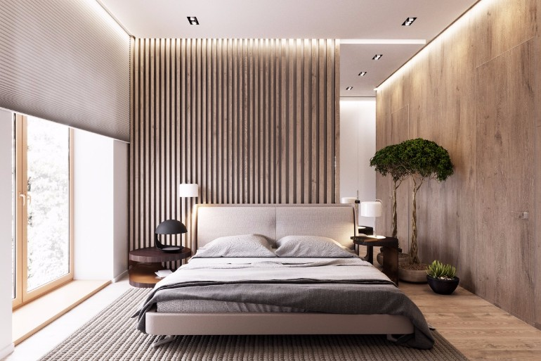 master bedroom Master Bedrooms with Striking Wood Panel Designs ultra modern master bedroom design with wood panels striking bedroom ideas master bedroom design concept
