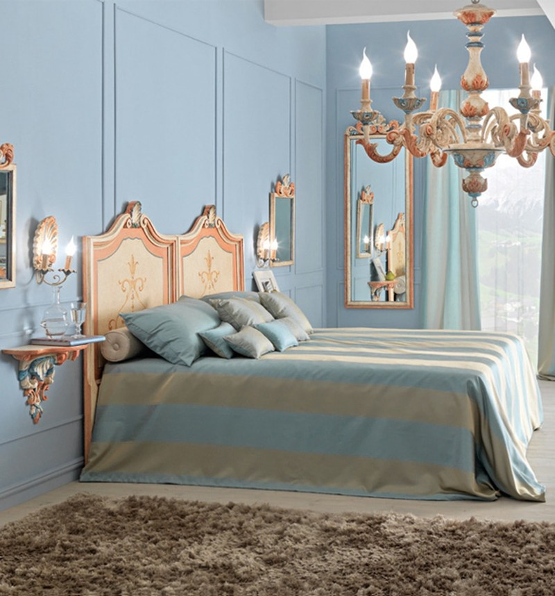 dream bedroom Luxury Dream Bedrooms by Juliettes Interiors Blue gold bedroom design juliettes interiors fur rug classical wall lamps opulent luxury interior design