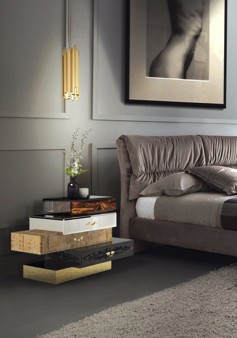 contemporary bedside table Contemporary Bedside Tables to Create a Dream Bedroom Boca Do Lobo Frank Nightstand Luxury Bedroom Grey Bedroom Design