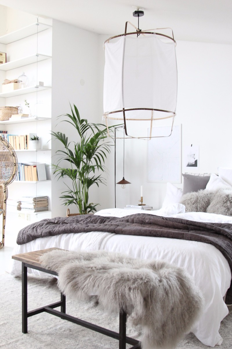 lighting design 10 Extraordinary Suggestions for Master Bedroom Lighting Design Gorgeous bedroom in white and grey with enchanting oriental chandelier design