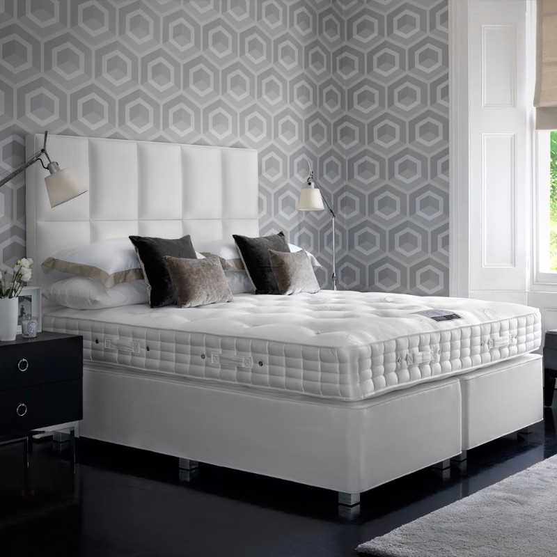 dream bedroom Luxury Dream Bedrooms by Juliettes Interiors Gorgeous luxury bedroom juliettes interiors geometric wallpaper white bed black floor brick headboard brown pillows