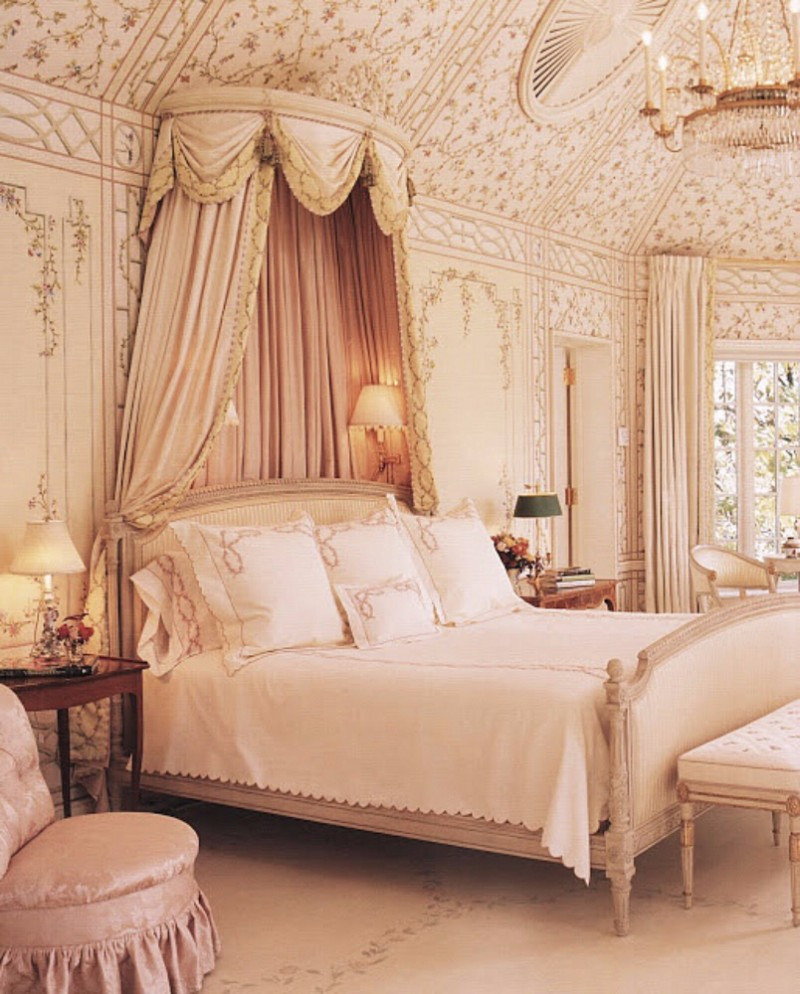 french style 10 French Style Master Bedrooms Opulent pink French Style Master Bedroom Inspiration Iideas crystal chandelier cream tones rococo design