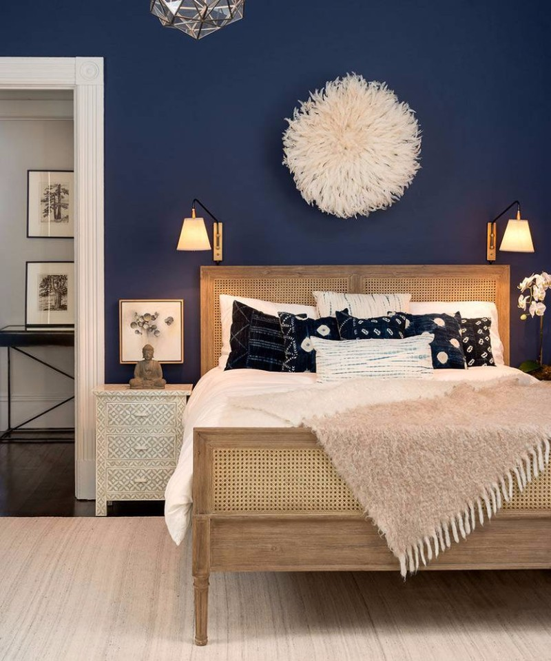 blue bedroom 10 Soothing Blue Bedroom Designs The dark blue wall is complimented by beige elements bedroom inspiration ideas interior design