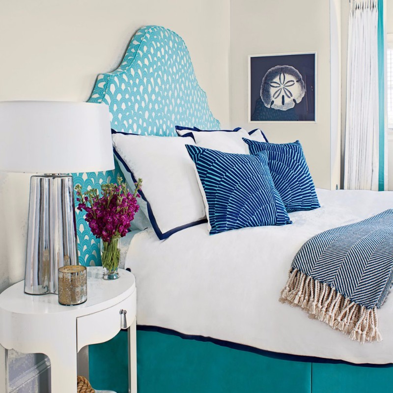 guest bedroom guest bedroom Fresh Summer Inspired Guest Bedrooms beautiful teal bedroom upholstered bedhead white nightstand beautiful silver table lamp
