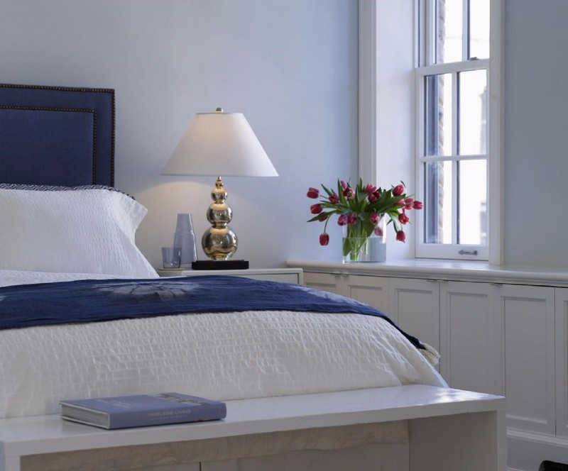 blue bedroom 10 Soothing Blue Bedroom Designs blue bedroom decor white walls wall lamp design ideas