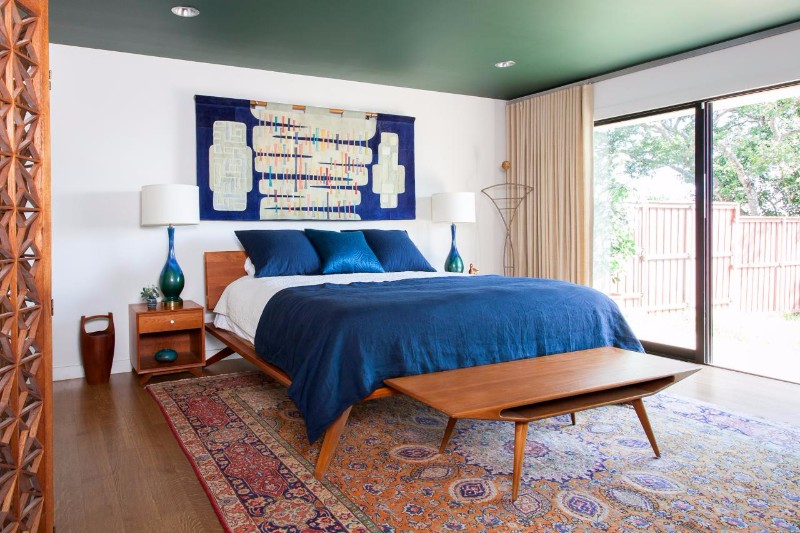 mid century modern home Bedroom Inspiration for Mid Century Modern Homes mid century bedroom design blue tones wooden floor art wall