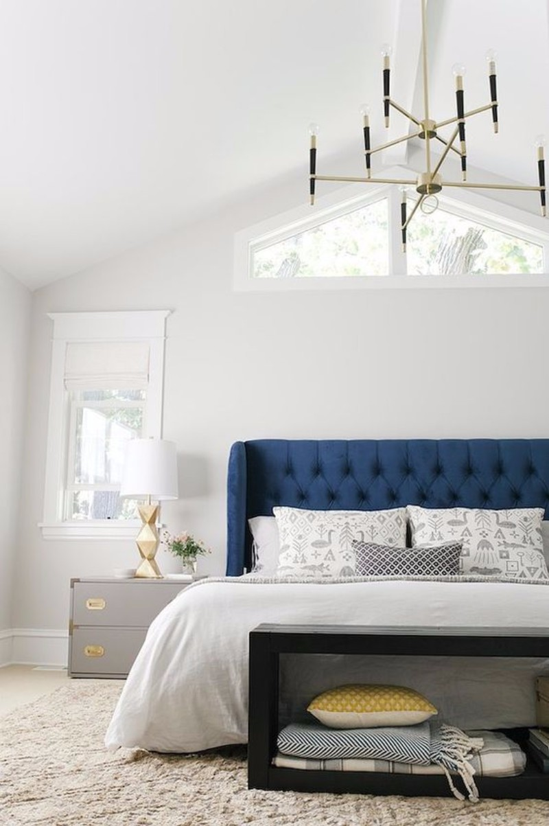 lighting design 10 Extraordinary Suggestions for Master Bedroom Lighting Design mid century modern chandelier blue bedroom design ideas