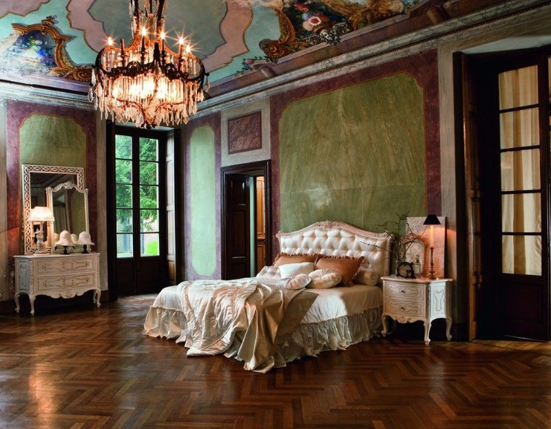 dream bedroom Luxury Dream Bedrooms by Juliettes Interiors opulent master bedroom design inspiration ideas coppery tones green desgin antique nightstand sumptuous chandelier juliettes interiors