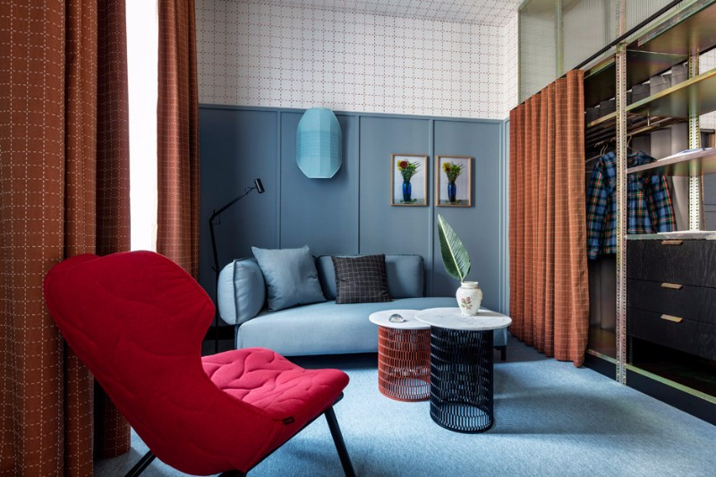 patricia urquiola Milan Hotel Project by Patricia Urquiola patricia urquiola geometric grid pattern bedroom design inspiration hotel room ideas modern bedroom design