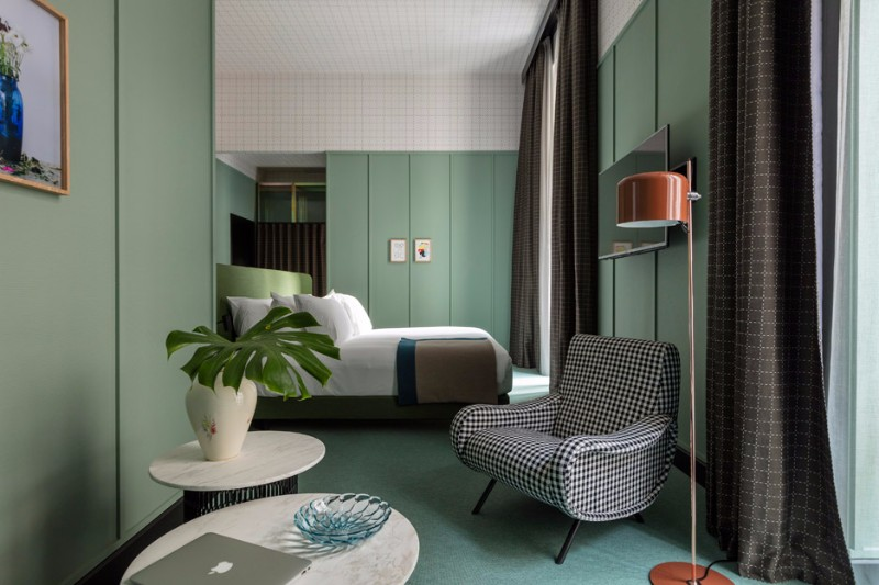 patricia urquiola Milan Hotel Project by Patricia Urquiola patricia urquiola hotel bedroom design inspiration ideas modern bedroom decor master bedroom design green shades pretty bedroom