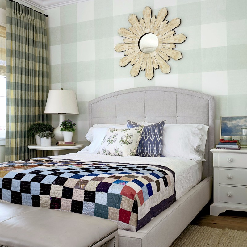 guest bedroom Fresh Summer Inspired Guest Bedrooms pretty bedroom chess blanket sunburst mirror bedroom inspiration ideas guest bedroom interior design decor