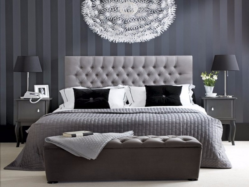 tufted headboard Sublime Tufted Headboards for Master Bedroom Décor purple grey bedroom inspiration ideas tufted headboard crystal chandelier