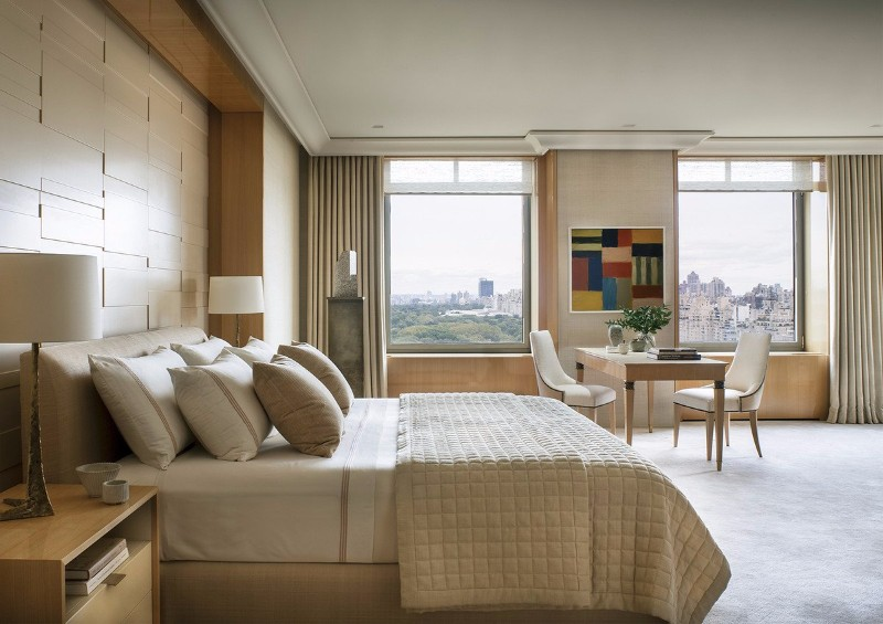 neutral bedroom 10 Smooth Neutral Bedrooms by Famous Interior Designers Charming bedroom in beige with contemporary art in South Central Park by Thomas Pheasent