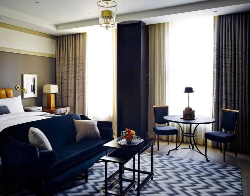 modern master bedroom ideas inspiration interior design floor design 10 Exciting Ideas for Master Bedroom Floor Design Charming bedroom in navy blue by Ken Fulk
