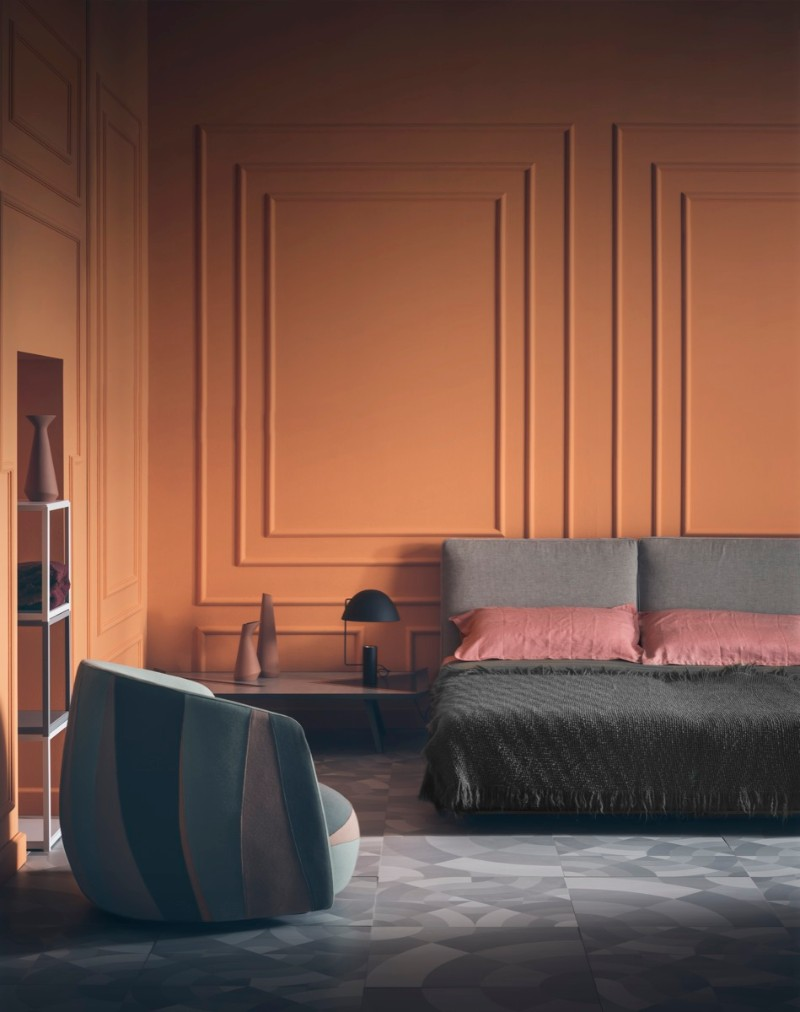 dark bedroom dark bedroom Elegance & Luxury with Dark Bedroom Designs Contemporary dark bedroom design orange walls modern pieces dark bedroom design ideas