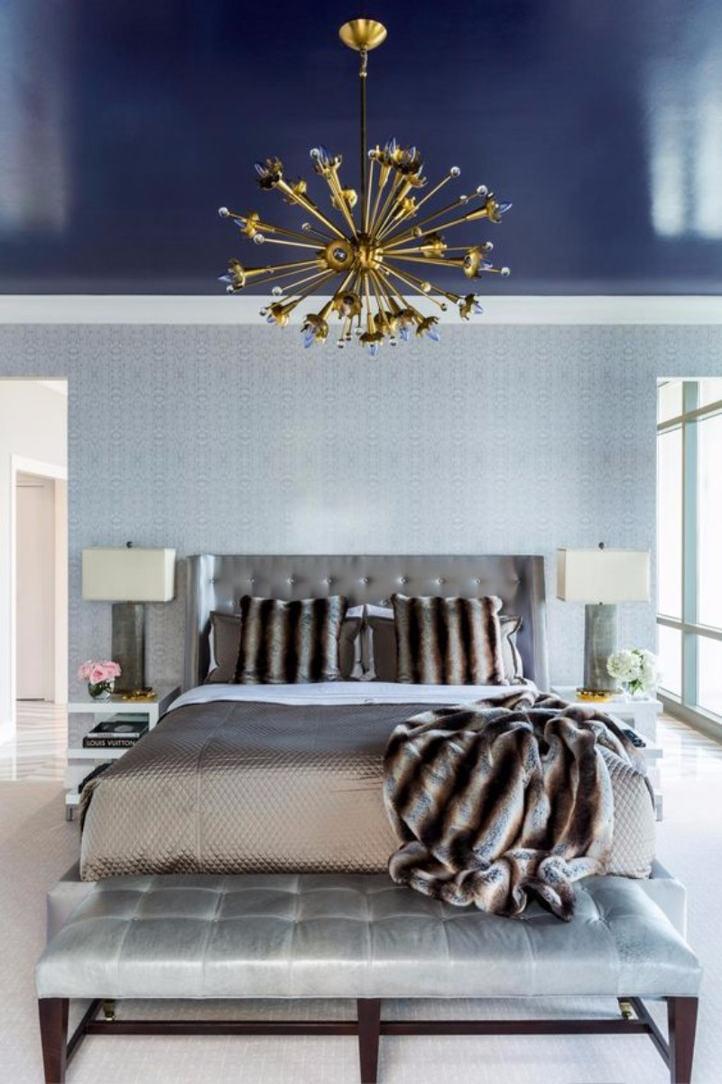 master bedroom 10 Magnificent Upholstered Master Bedroom Benches Creative bedroom design with exquisite wall details navy blue ceiling and an enchanting golden chandelier