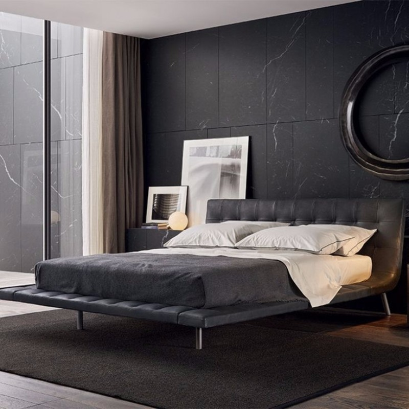 dark bedroom Elegance & Luxury with Dark Bedroom Designs Dark bedroom design  marbled walls modern bed