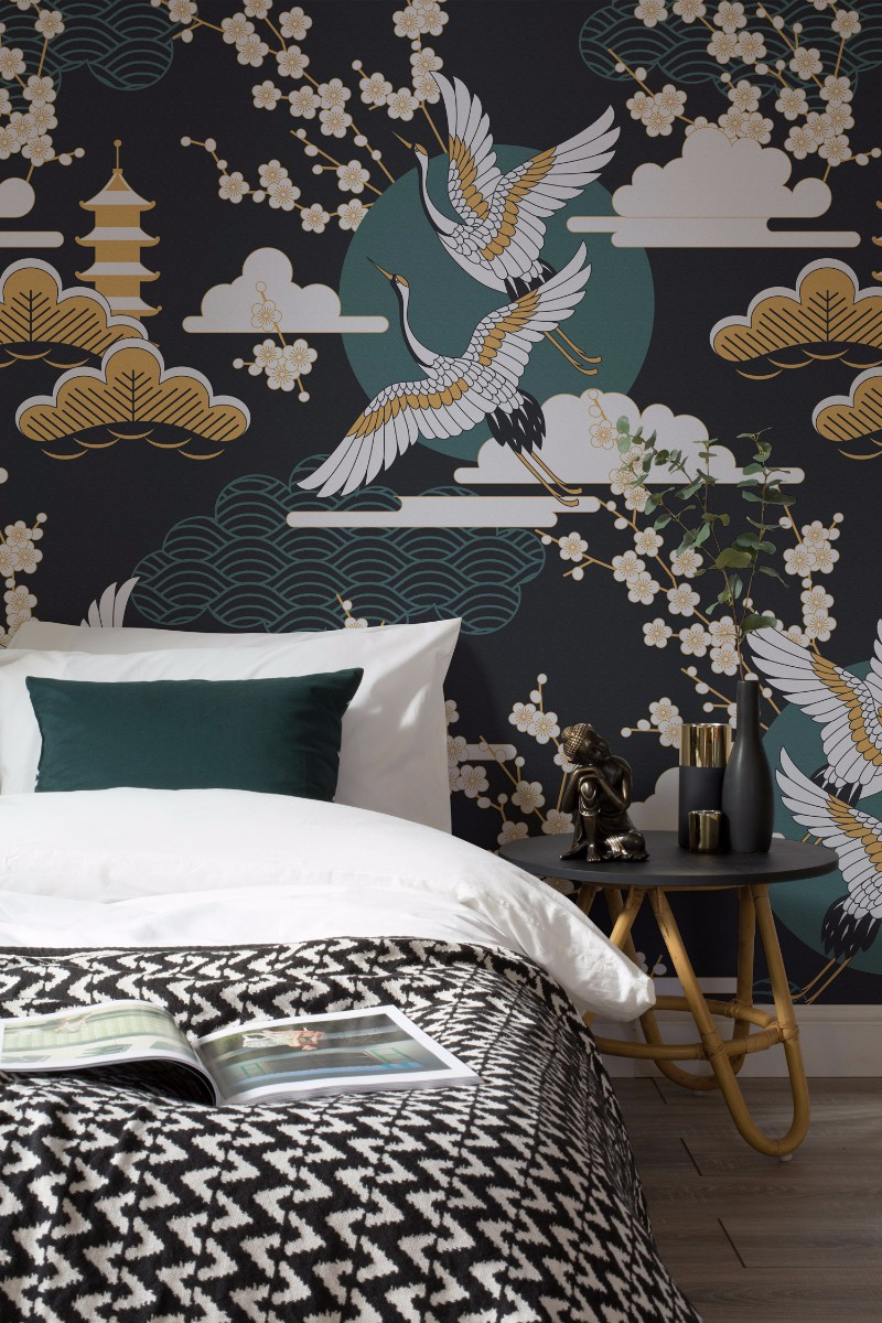 Design wallpaper ideas for modern master bedrooms master for Oriental style wallpaper uk