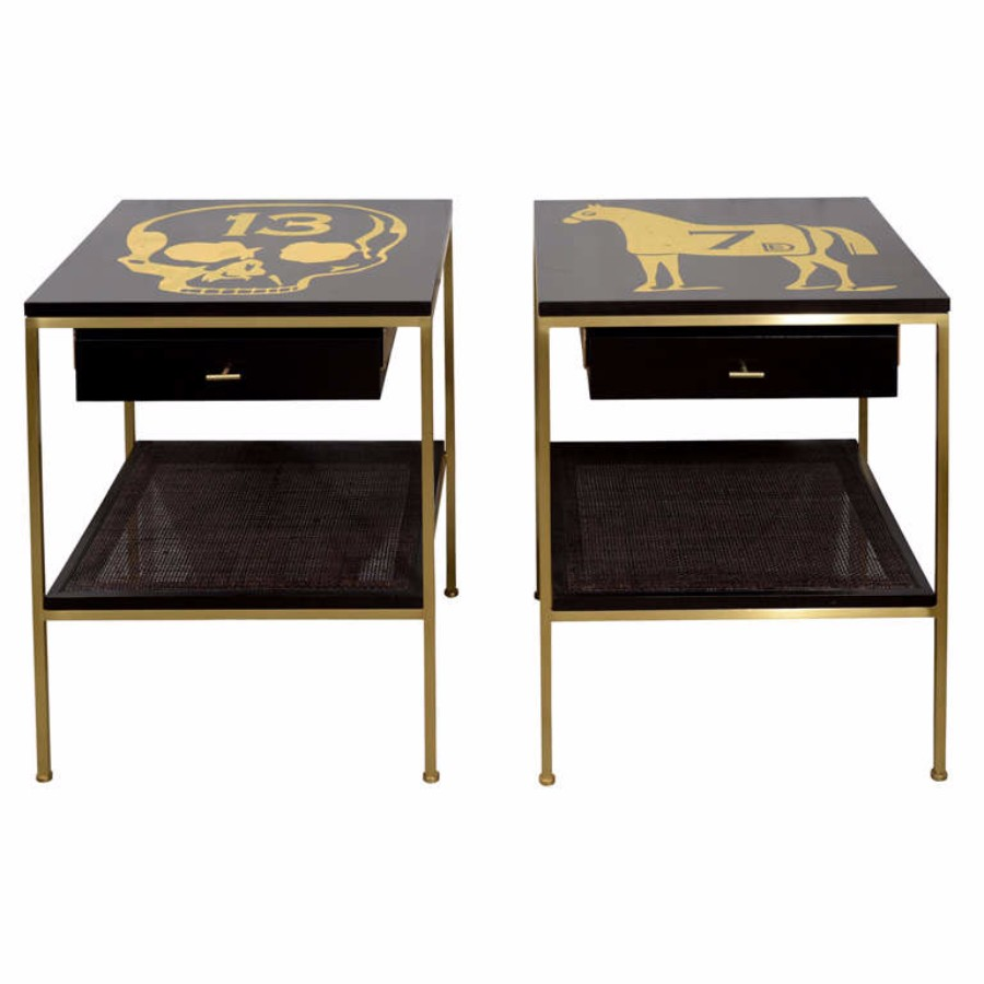 contemporary nightstand 25 Most Expensive Contemporary Nightstands Ebonized Bedside Tables with Brass Frame and DE Gold Leaf Images 7651