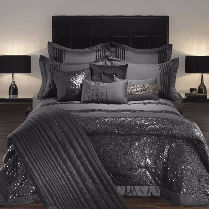 dark bedroom Elegance & Luxury with Dark Bedroom Designs Glittering bedroom design in black with grey walls textiles blanket