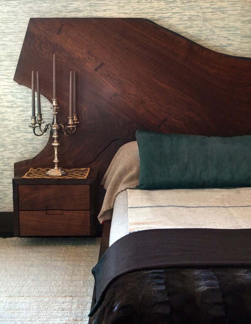 transitional style 10 Transitional Style Bedrooms by Famous Interior Designers Huniford design studio charming dark bedroom with magnificent wooden headboard master bedroom design ideas bedroom decor