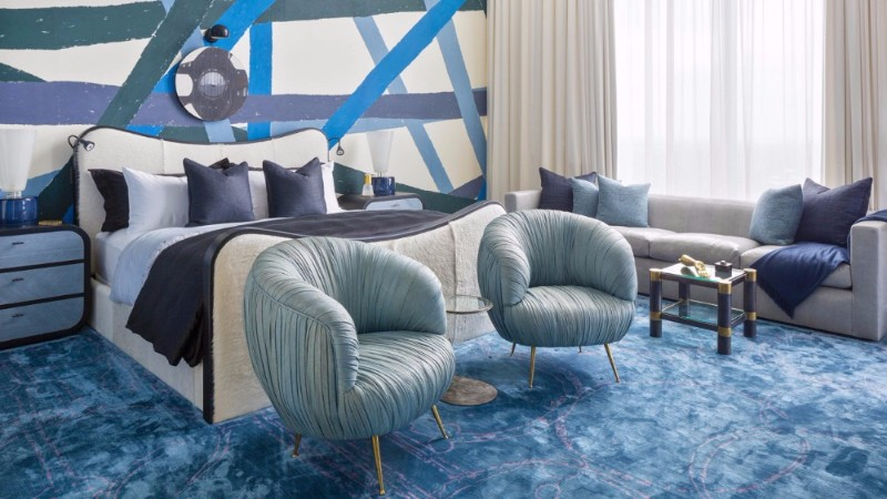 blue bedroom blue bedroom 10 Charming Navy Blue Bedroom Ideas Kelly Wearstler Austin Residence Master Bedroom Design Inspiration Ideas Luxurious Home Decor