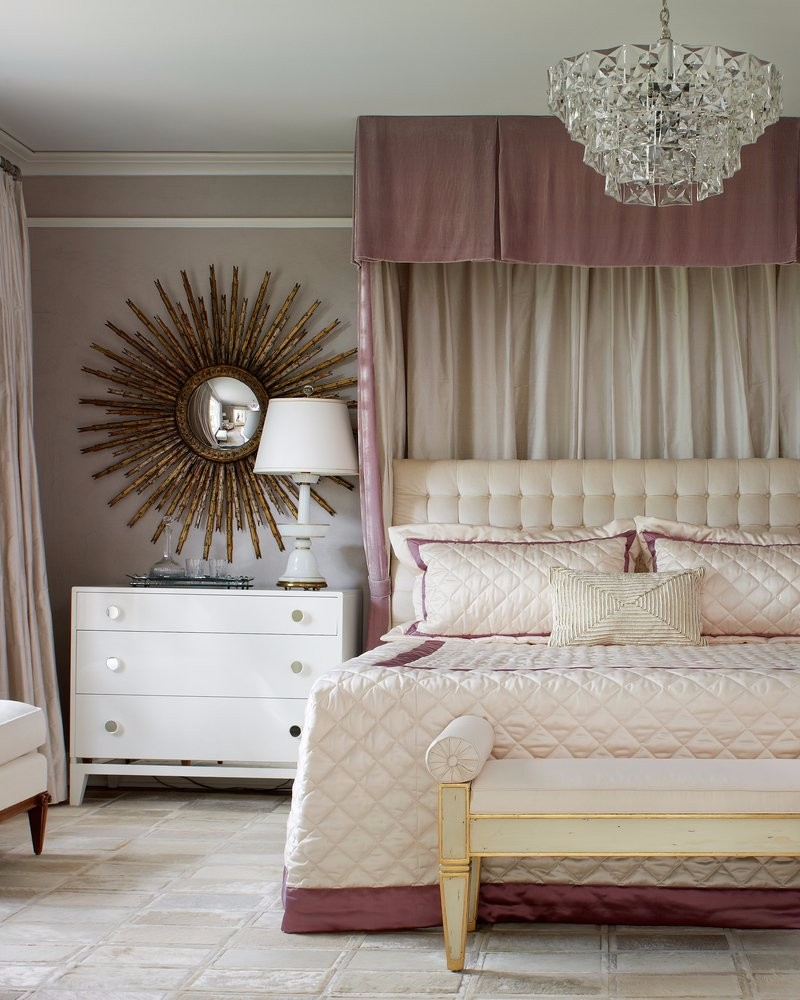 pink bedroom Subtlety and Charm with 10 Pink Bedroom Designs Luxury bedroom design by Jan Showers with crystal chandelier and starburst mirror