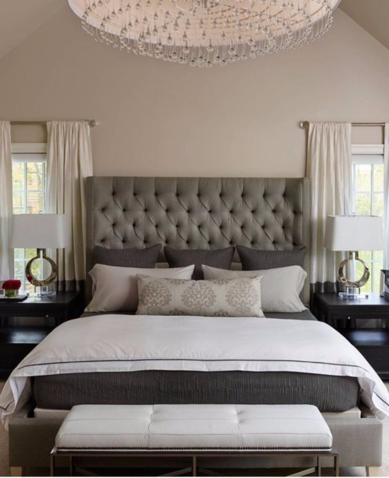 master bedroom 10 Magnificent Upholstered Master Bedroom Benches Modern bedroom design with beautiful headboard