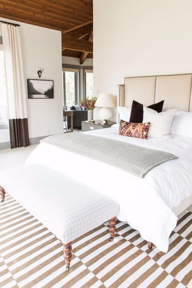 master bedroom 10 Magnificent Upholstered Master Bedroom Benches Serene bedroom