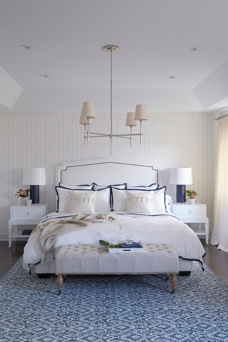 blue bedroom 10 Charming Navy Blue Bedroom Ideas Soothing bedroom in blue and white with modern wall accents