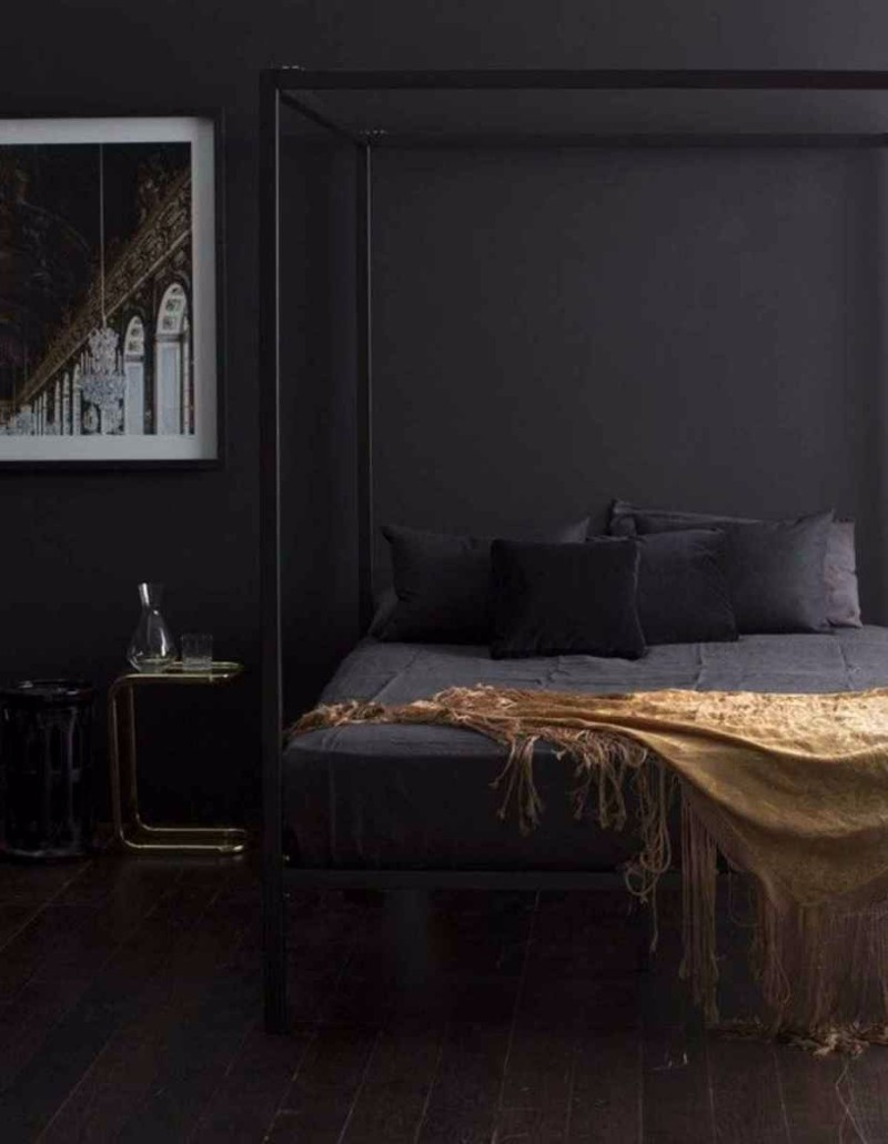 dark bedroom Elegance & Luxury with Dark Bedroom Designs dark bedroom design ideas luxury bedroom design modern bedroom golden blanket canopy bed