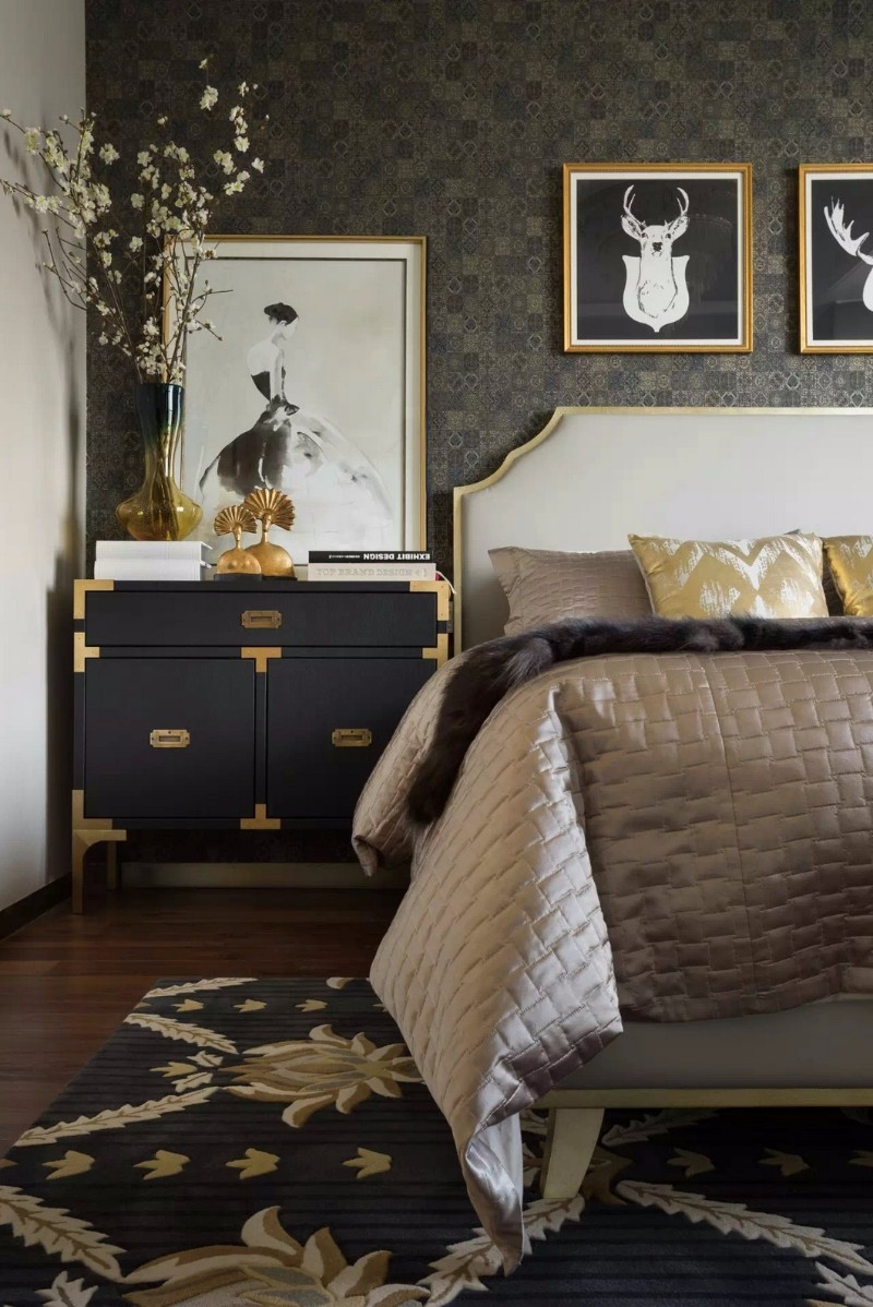 modern nightstand Top 15 Modern Nightstands Found on Pinterest golden nightstand design for modern master bedrooms