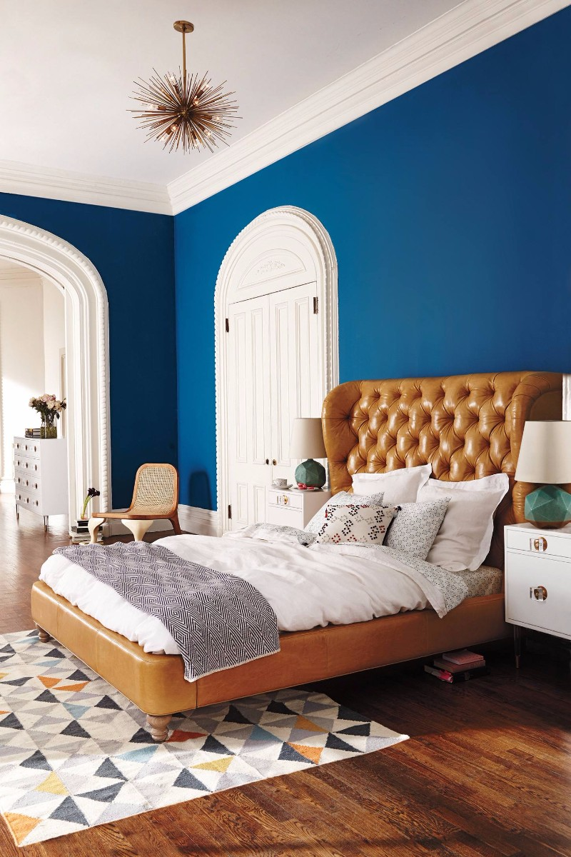 blue bedroom 10 Charming Navy Blue Bedroom Ideas gorgeous navy blue bedroom chesterfield bed brown leather design ideas