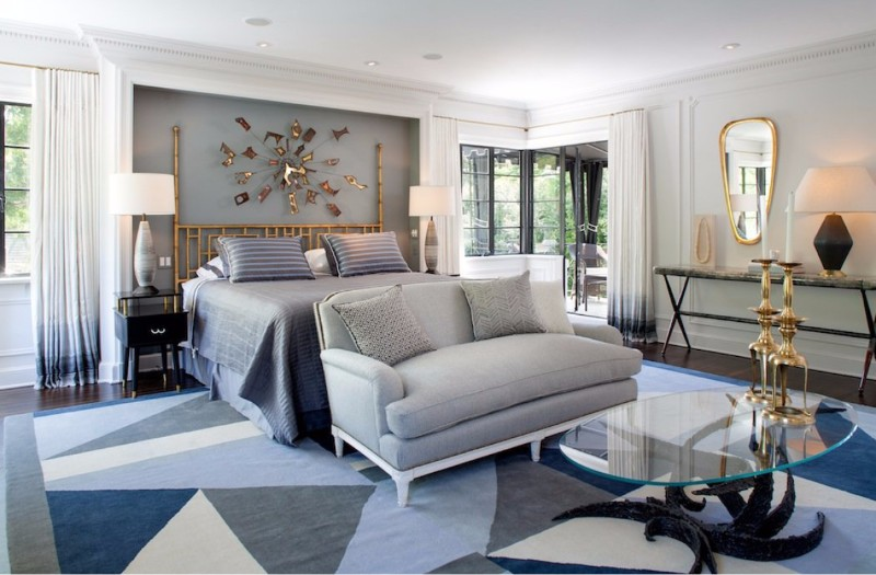 bedroom design Bedroom Designs by Top Interior Designers: Jean-Louis Deniot master bedroom design glass center table blue grey sideboard gold mirror design