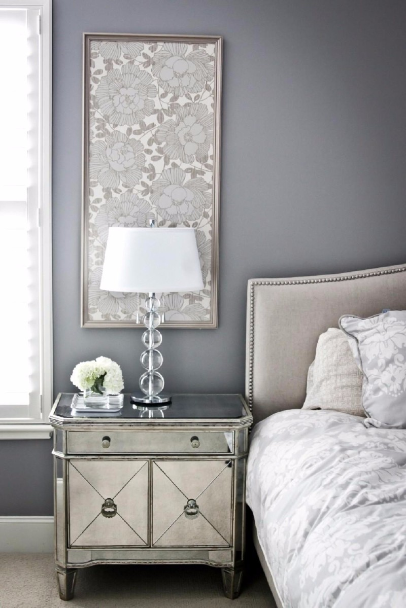 modern nightstand Top 15 Modern Nightstands Found on Pinterest mirrored nightstand grey bedroom design moder master bedroom inspiration