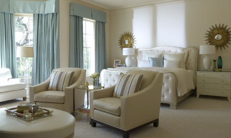 36 Master Bedrooms featured in Top design Magazines master bedroom 36 Master Bedrooms featured in Top design Magazines Charming cream bedroom in white by Jan Showers with two starburst mirrors