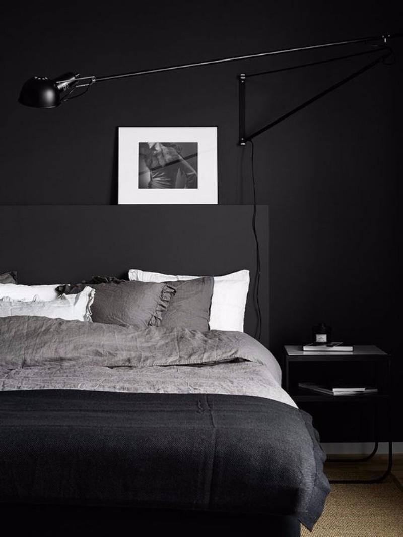 master bedroom 10 Master Bedroom trends for the Upcoming Winter 2017 Sleek black grey and white bedroom design