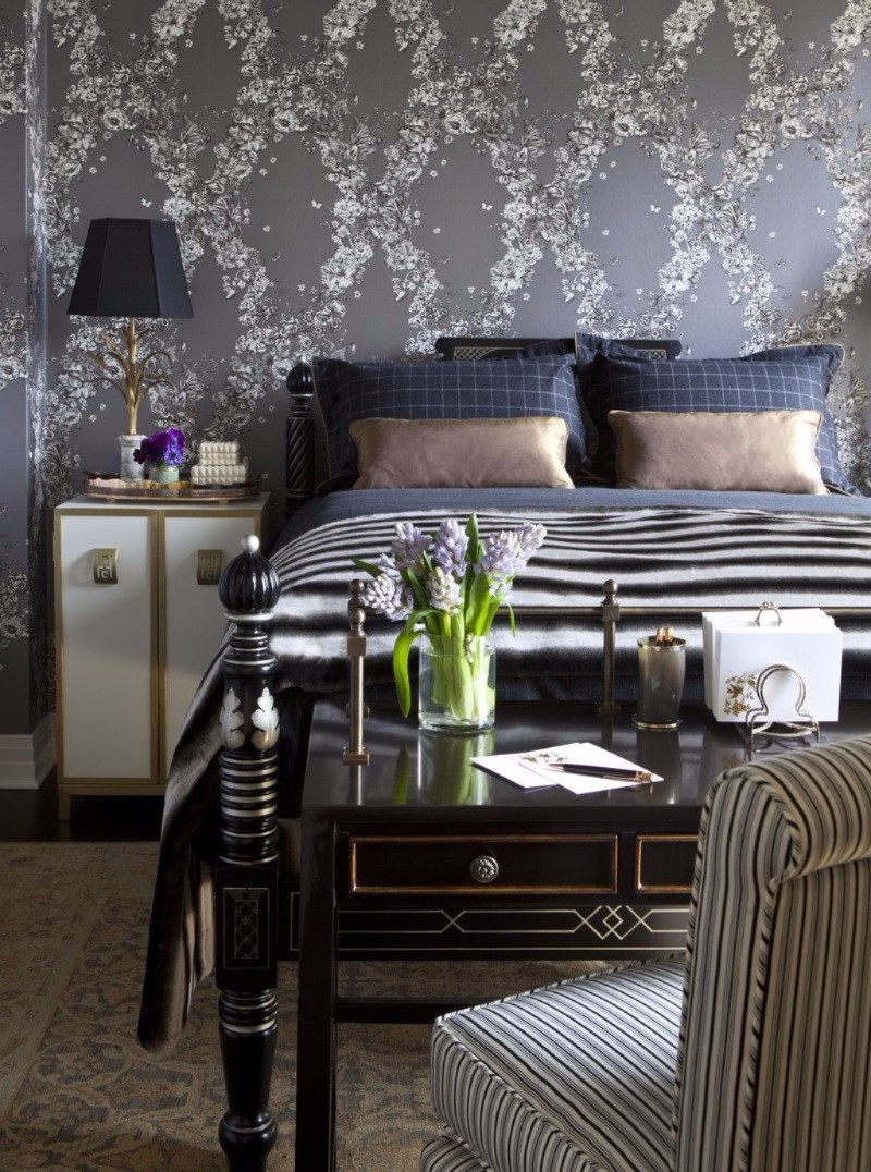master bedroom 12 Sensational Eclectic Style Master Bedroom Designs beautiful bedroom design grey flower patterns modern wallpaper beautiful chandelier