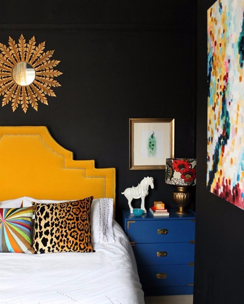 master bedroom 12 Sensational Eclectic Style Master Bedroom Designs eclectic style master bedroom inspiration ideas yellow headboard blue nightstand starburst mirror