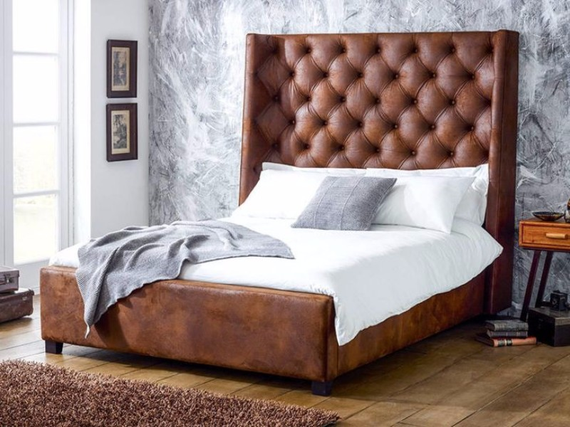 upholstered bed 10 Fabric Ideas For Modern Upholstered Beds faux leather bedhead modern upholstered bed