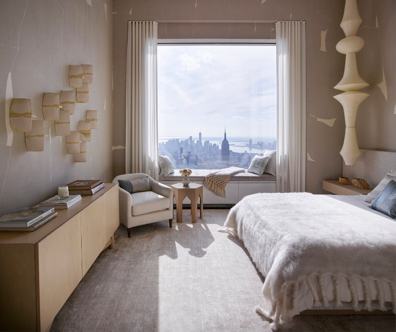 bedroom design Bedroom Designs by Top Interior Designers: Kelly Behun gorgeous bedroom with a view in a midtown penthouse by kelly behun