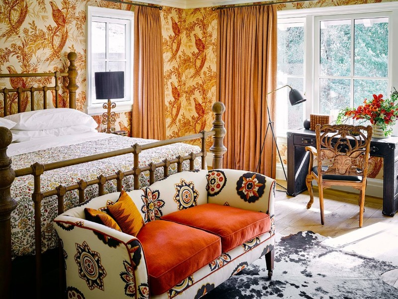bedroom inspiration Colorful Bedroom Inspiration by Famous Interior Designers Bright colored bedroom design by Ken Fulk in the Lake House