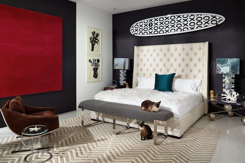 master bedroom master bedroom 10 Stunning Master Bedrooms by Top Interior Designers Charming bedroom with beautiful headboard rug and red wall art by Brown Davis Interiors